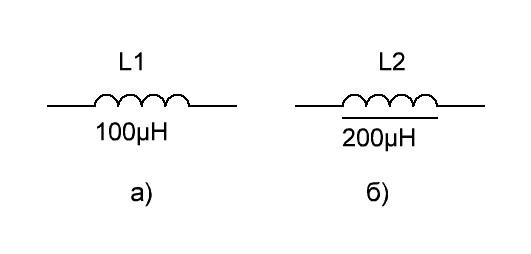 Обозначение катушки индуктивности на схеме.