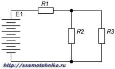 Рисунок 4. Последовательно-параллельная электрическая цепь.